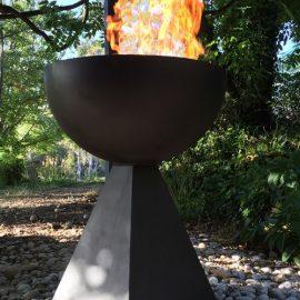 Painted Fire Goblets & Other Metal Garden Sculptures
