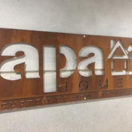 APA Laser Cut Metal Sign